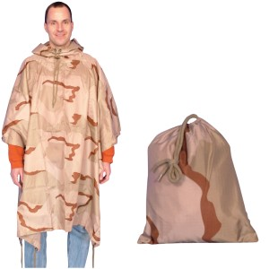3 Color Desert Poncho with Bag