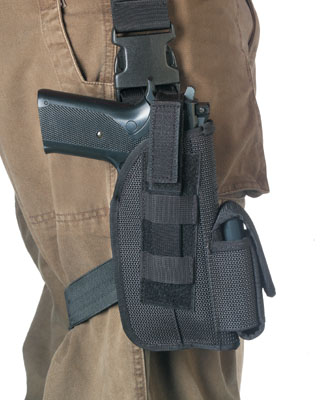 Tactical Thigh Holster comes in Black or Olive Drab.