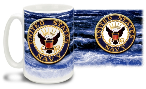 Navy Crest On Sea Mug
