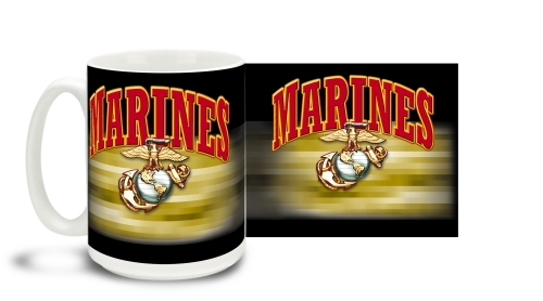 Marines E.G.A. On Black Mug