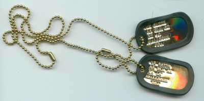 Gold Dog Tags Double Set with Rubber Silencers