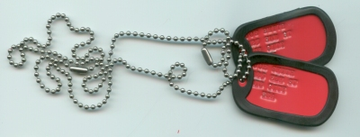 Red Dog Tag Double Set with Rubber Silencers