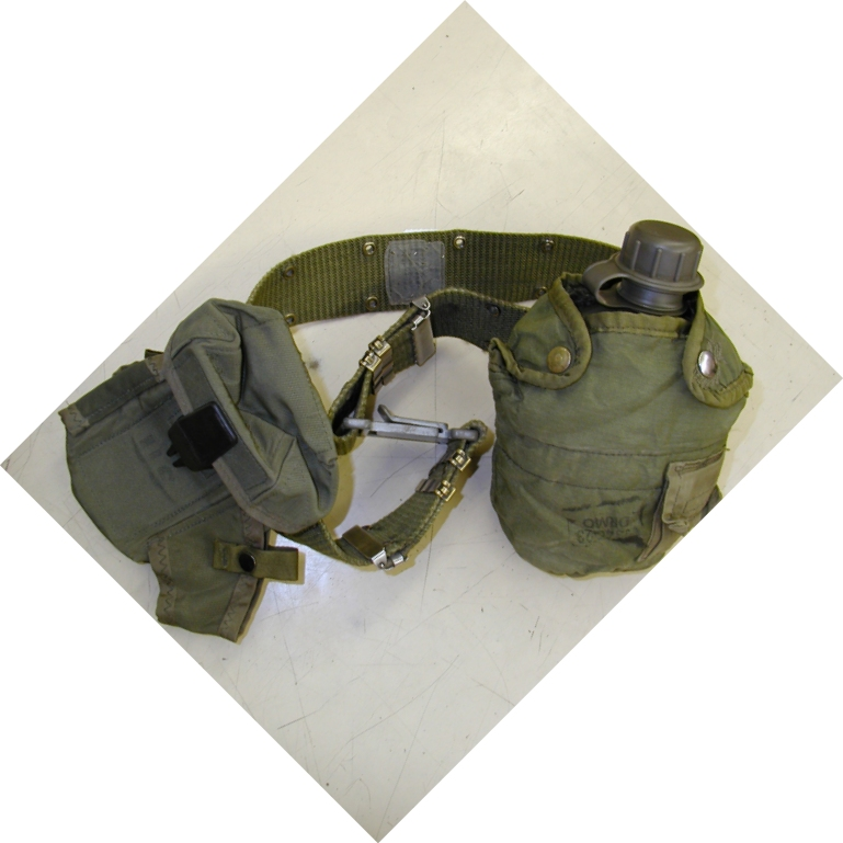Used Utility Belt Kit w/Suspenders Canteen-Cover-M16 Pouch