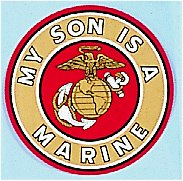 My Son Is A Marine Decal 4 Inch Round