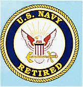 US Navy Retired 4 Inch Round Decal