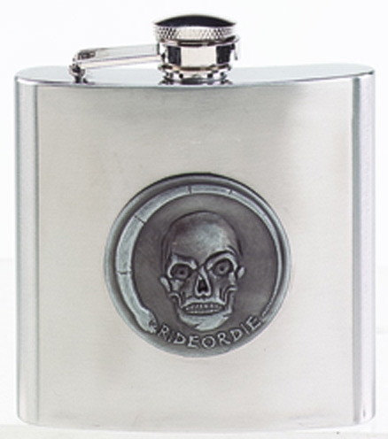 Stainless Hip Flask with SkullDecoration