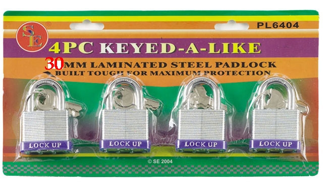 Four 30mm Padlocks KEYED-ALIKE