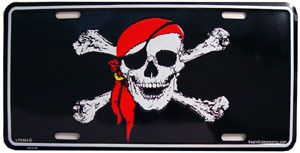 Skull and Bones Pirate With Red Scarf License Plate