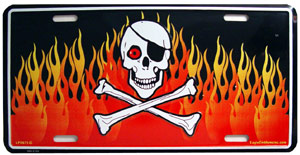 Skull and Bones Pirate With Flames License Plate