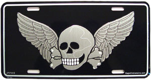 Skull and Bones Pirate With Death Wings License Plate