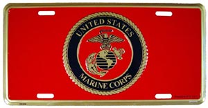 USMC Logo With Logo In Circle License Plate