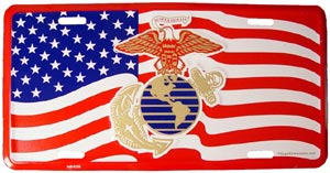 USMC Logo With USA License Plate