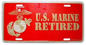 USMC Retired License Plate