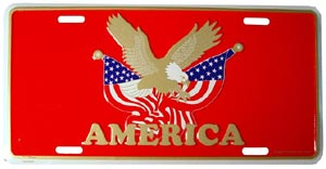 USA With Eagle and Flags License Plate