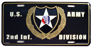 Army 2nd Infantry Division License Plate
