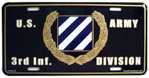 Army 3rd Infantry Division License Plate