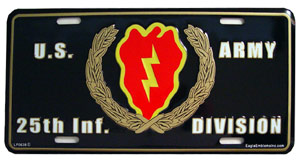 Army 25th Infantry Division License Plate