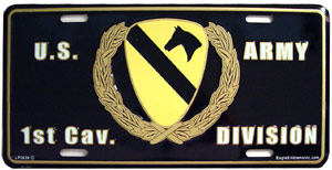 Army 1st Calvary Division License Plate