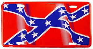 Rebel Flag Wavy License Plate