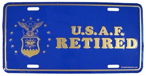 USAF Retired License Plate