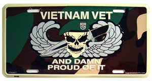 Vietnam Veteran and Damn Proud License Plate (With Skull)