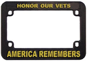 Honor Our Vets Motorcycle License Frame