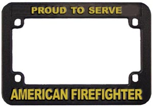 Firefighter Motorcycle LicensePlate Frame