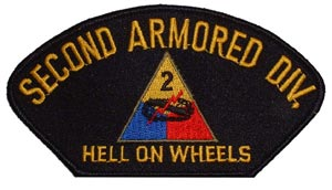 Patch-Army 2nd Armored Division For Cap