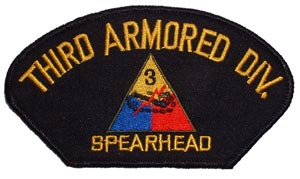 Patch-Army 3rd Armored Division For Cap
