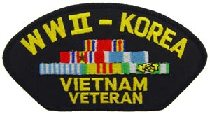 WWII-Korea-Vietnam Veteran With Ribbons For Cap