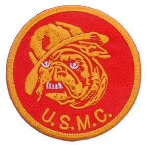 USMC Bulldog Patch With Red Background