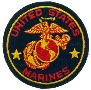 USMC Logo Patch Black, Gold And Red
