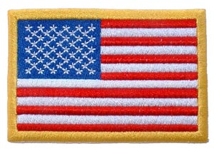 USA Flag Rectangle Gold Left Arm