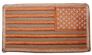 USA Flag Patch Rectangle Desert Right Arm