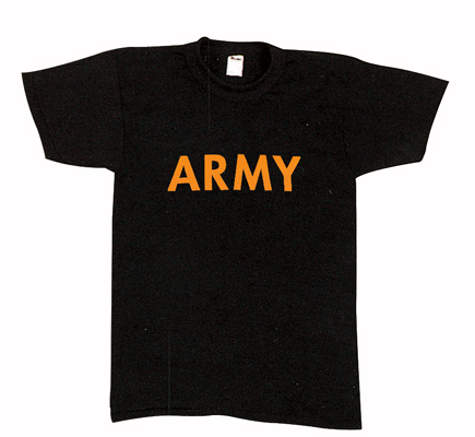 Army PT Shirts Black ang Gold