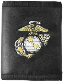 Leather Tri-Fold Wallet USMC Eagle Globe and Anchor