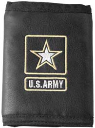 Leather Tri Fold Wallet US Army With Star