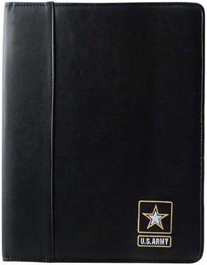 Soft Leather Padfolio US Army Embroidered Emblem