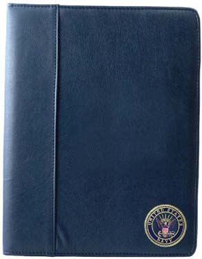 Soft Leather Padfolio USN Embroidered Emblem