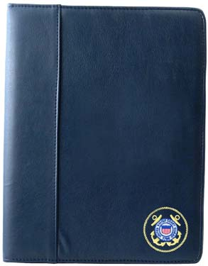 Soft Leather Padfolio USCG Embroidered Emblem