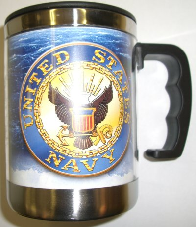Navy Crest On Angry Sea Small Stainless Steel Mug