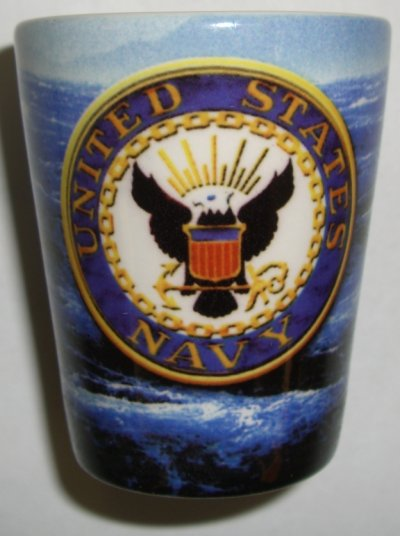 Navy Crest on Angry Sea Shot Glass