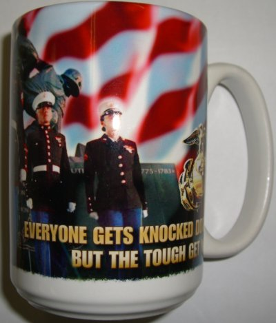 The Tough Get Up With Flag Mug USMC