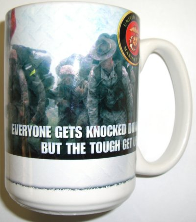 The Tough Get Up Diamond Steel USMC Mug