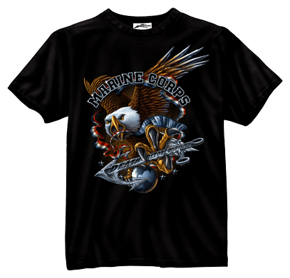 Black Ink Marine Eagle Tee Shirt