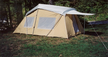 3 Room 10' X 16' Cotton Cabin Tent With Awning and Full Fly