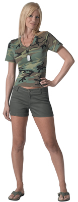 Olive Drab Womens Shorts
