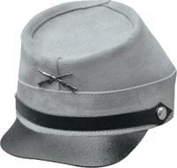 Gray Leather Civil War Cap