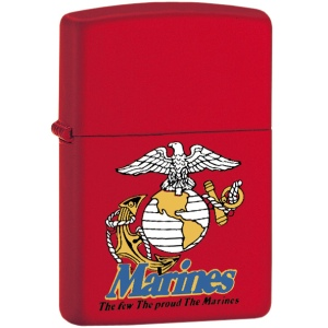 Marine Red Matte Zippo -The Few The Proud