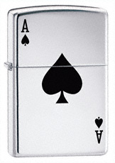 Lucky Aces High Polish Chrome Zippo